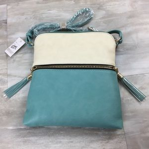 Handbags - NWT Mint Colorblock Crossbody Tassel Zipper Purse